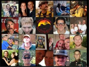 Photographs of the 19 members of Granite Mountain Hotshots who perished while fighting wildfire outside Yarnell, AZ.
